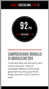James Suckling San Felice Campogiovanni 2014 Brunello rating