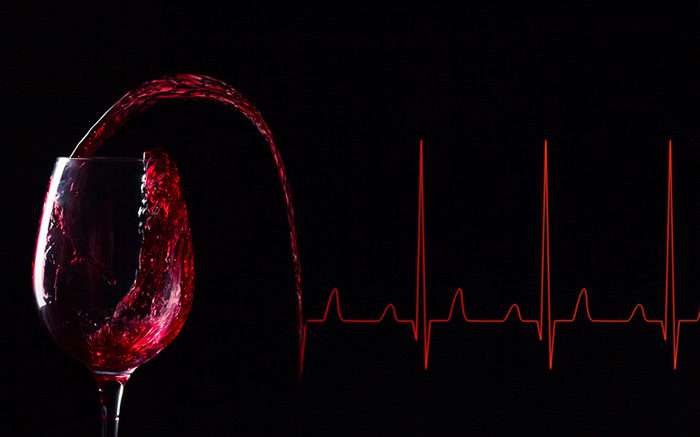 Red wine and heart rate curve